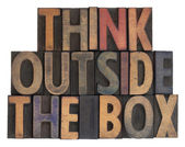 Think outside the box, vintage wood type — Stock Photo