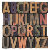 Alphabet in vintage wooden type — Stok fotoğraf