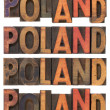 Royalty-Free Stock Photo: Poland in vintage wooden type