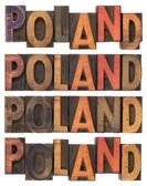Poland in vintage wooden type — Stock Photo