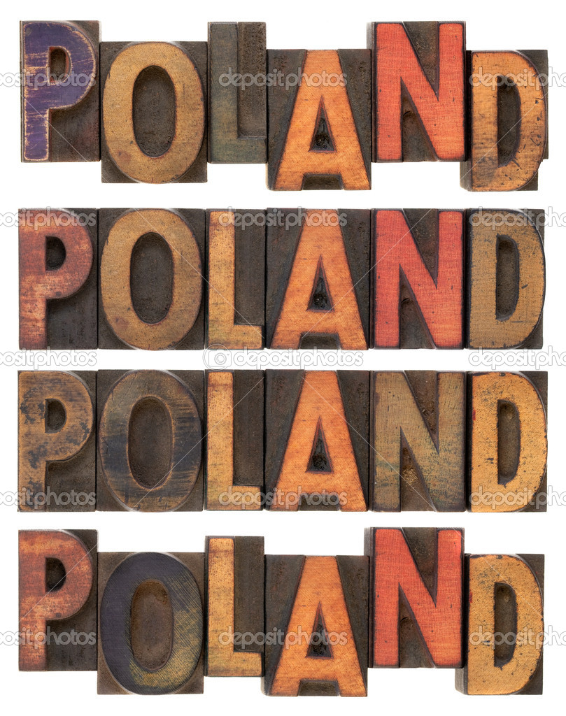 Word Poland (four versions) in vintage letterpress wood type, stained by ink, isolated on white — Stock Photo #2911509