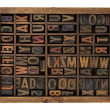 Alphabet in antique wood types — Stock Photo