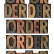 Order word in vintage wood type — Foto de Stock