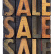 Sale concept - vintage wood types — Stock Photo