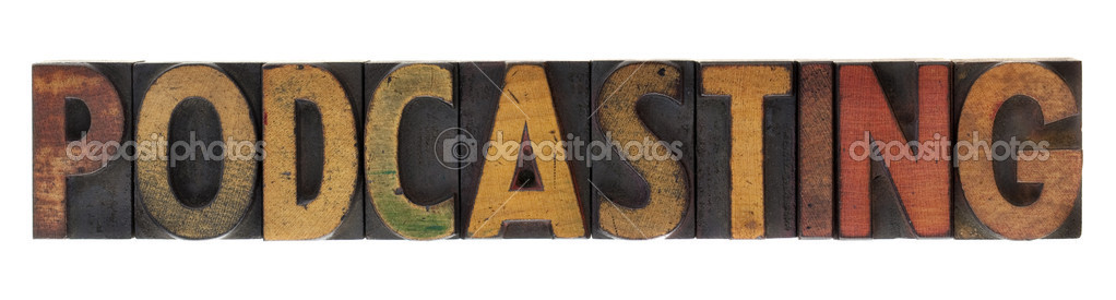 Word of podcasting in vintage wood block letterpress type, stained by ink, isolated on white — Stock Photo #2980237