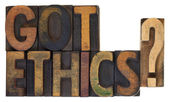 Got ethics? Vintage wood type. — Stock Photo