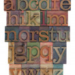 图库照片: Alphabet abstract - letterpress type
