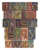 Alphabet abstract - letterpress type — Foto Stock