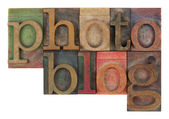 Photoblog in letterpress wooden type — Stock Photo