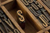 Dollar - vintage letterpress wooden type — Stock Photo