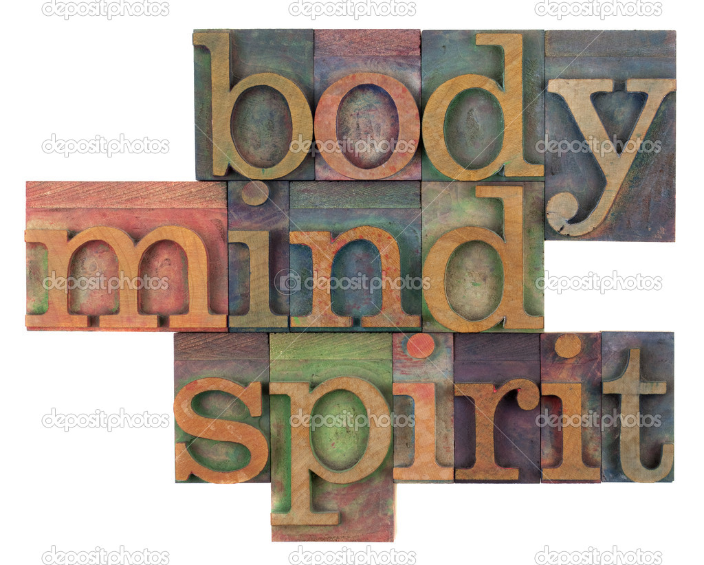 Body, mind and spirit in vintage wooden letterpress types, stained by ink in different colors, isolated on white — Stock Photo #3053503