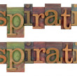 Inspiration word in letterpress type — Foto Stock