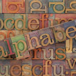 Alphabet in vintage wood type - Foto Stock