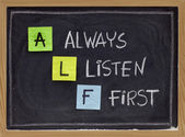 Always listen first - ALF acronym — Stock Photo