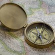 Stock Photo: Brass compas over South America map