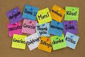 Dank u in verschillende talen — Stockfoto