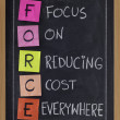 Stock Photo: Focus on reducing cost everywhere