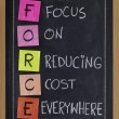 Focus on reducing cost everywhere — Stock Photo