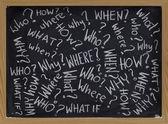 Questions on blackboard — Stock Photo