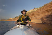 Canoe paddling in Colorado — Stock Photo