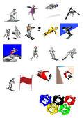 3d marionetten olympische winterspelen — Stockfoto