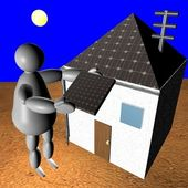 3D puppet putting solar panel on house — Stok fotoğraf