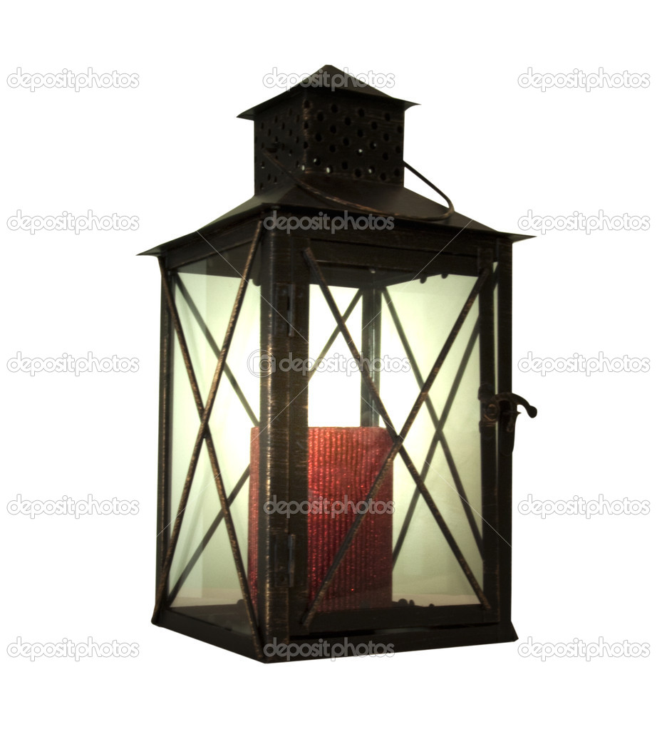 Light lantern with red candle over white background  Stock Photo #2710820