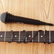 Microphone and guitar — Stock Photo