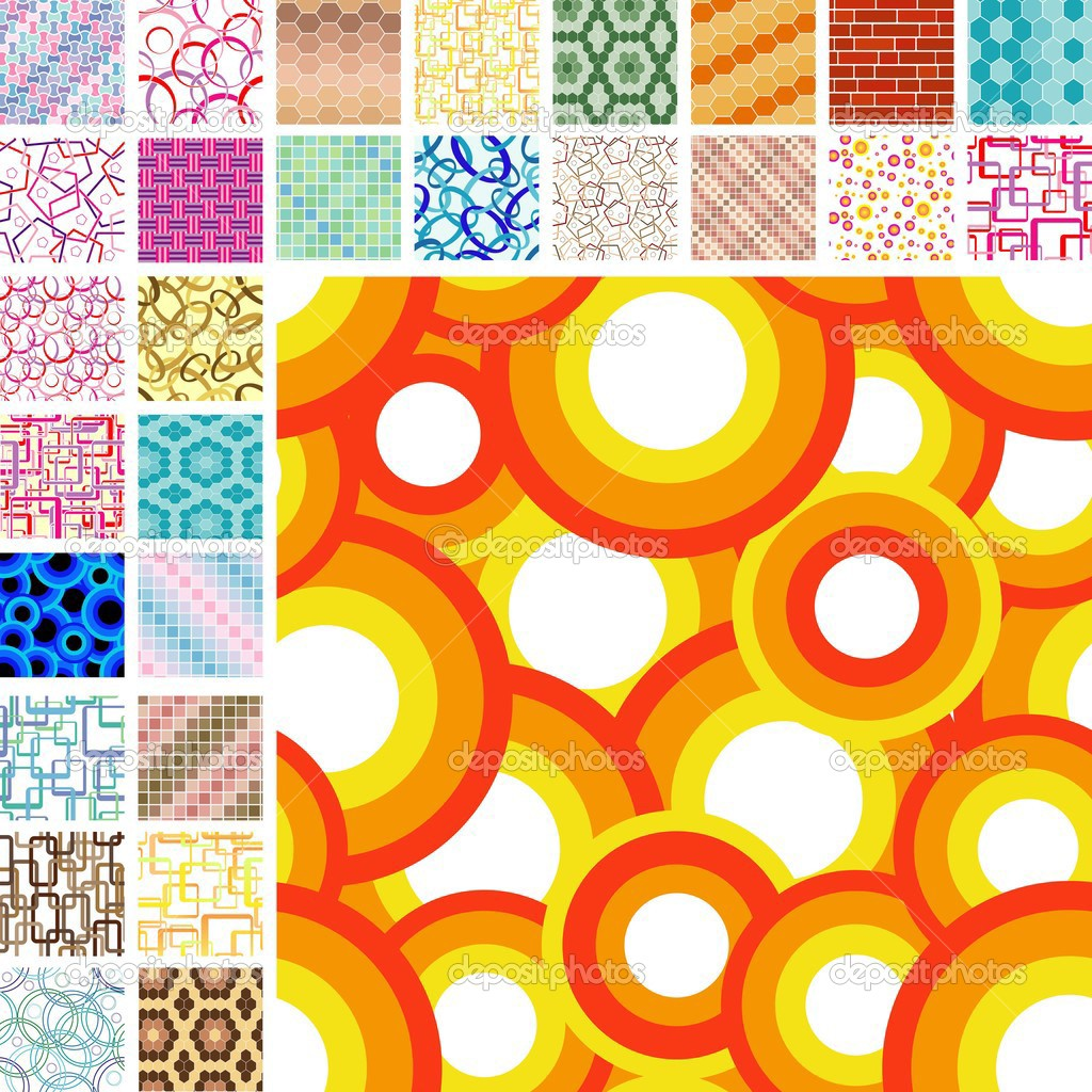 Many retro seamless color patterns — Stock Vector #2716383