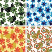 Seamless flower patterns — Stock Vector