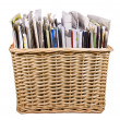Stock Photo: Basket with newspapers