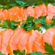 Stock Photo: Smoked salmon fillet sliced