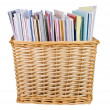 Wicker basket with textbooks - Stock Photo