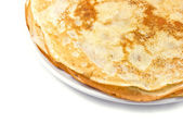 Fresh pancakes on a white plate — Stock Photo