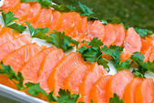 Sliced salmon fillet — Stock Photo