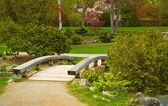 Wooden bridge in a park — Stock Photo