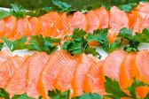 Smoked salmon fillet sliced — Stock Photo