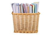 Wicker basket with textbooks — Stock Photo