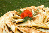 Fresh pancakes decorated — Stock Photo
