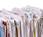Vertical pile of newspapers — Stock Photo