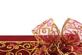 Golden red gift box bow — Stock Photo
