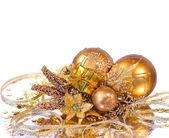 Christmas decoration - golden branch — Stock Photo