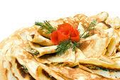 Fresh pancakes decorated — Stock Photo