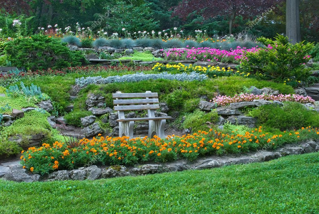 Wooden bench in summer garden with blooming flowers — Stock Photo ...