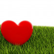Red heart on green grass — Stock Photo