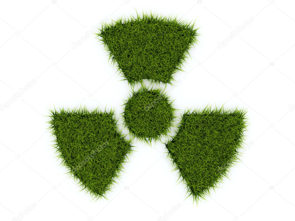 Radiation sign from grass isolated on white  Stock Photo #2726688