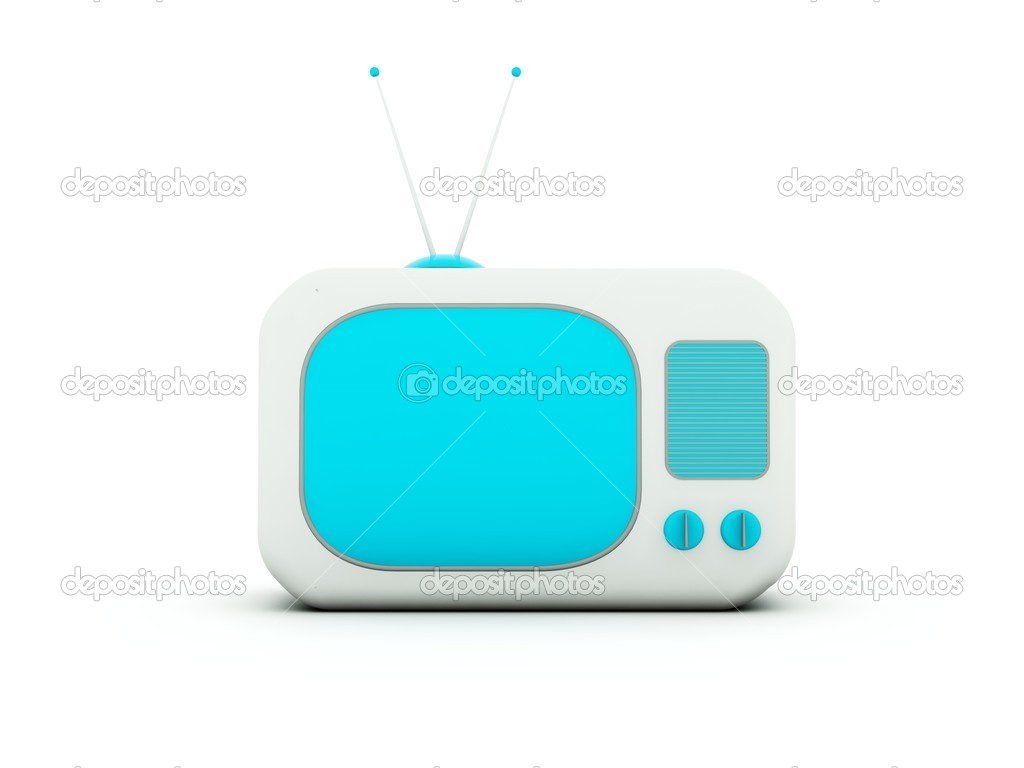 Old TV isolated on white. Blue and grey series — Stock Photo #2764478