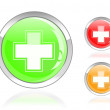Glossy first aid cross icon — Stock Vector