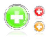 Błyszczący pierwszej pomocy ikona krzyż — Wektor stockowy