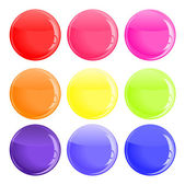 Glossy colorful button — Stock Vector